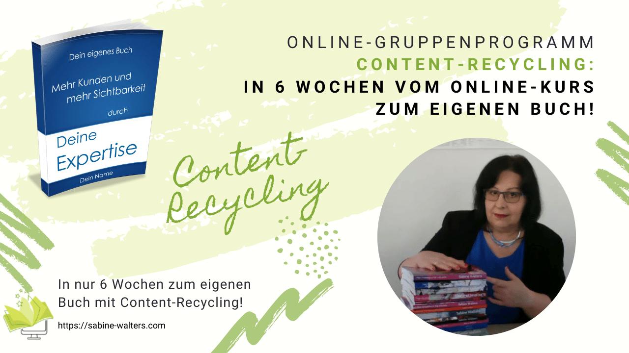 """Vom Online-Kurs zum eigenen Buch mit """"Content-Recycling"""""""